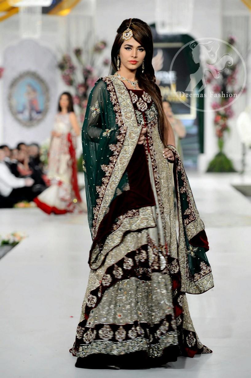 Fawn Heavy Bridal Lehnga - Bottle Green Dupatta and Front Open Gown with inner Velvet Bodice and Velvet Dupatta Back Hemming
