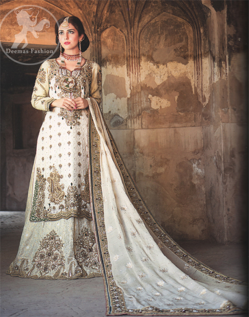 White Heavy Shirt and Lehnga For Walima Dress