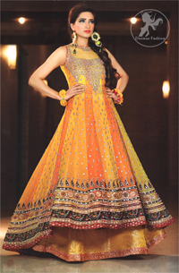 Yellow Orange Back Trail Frock Lehnga