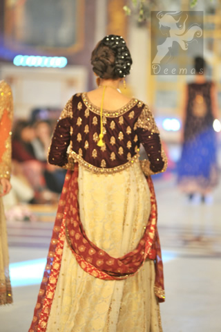 Ash White Designer Wear Bridal Frock with Churidar Pajama and Banarsi Dupatta view from back