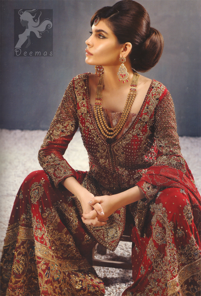 Latest Deep Red Heavy Bridal Shirt for Barat with Sharara and Dupatta