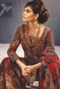 Latest Bridal Wear Deep Red Heavy Embroidered Shirt with Sharara and Dupatta 2016