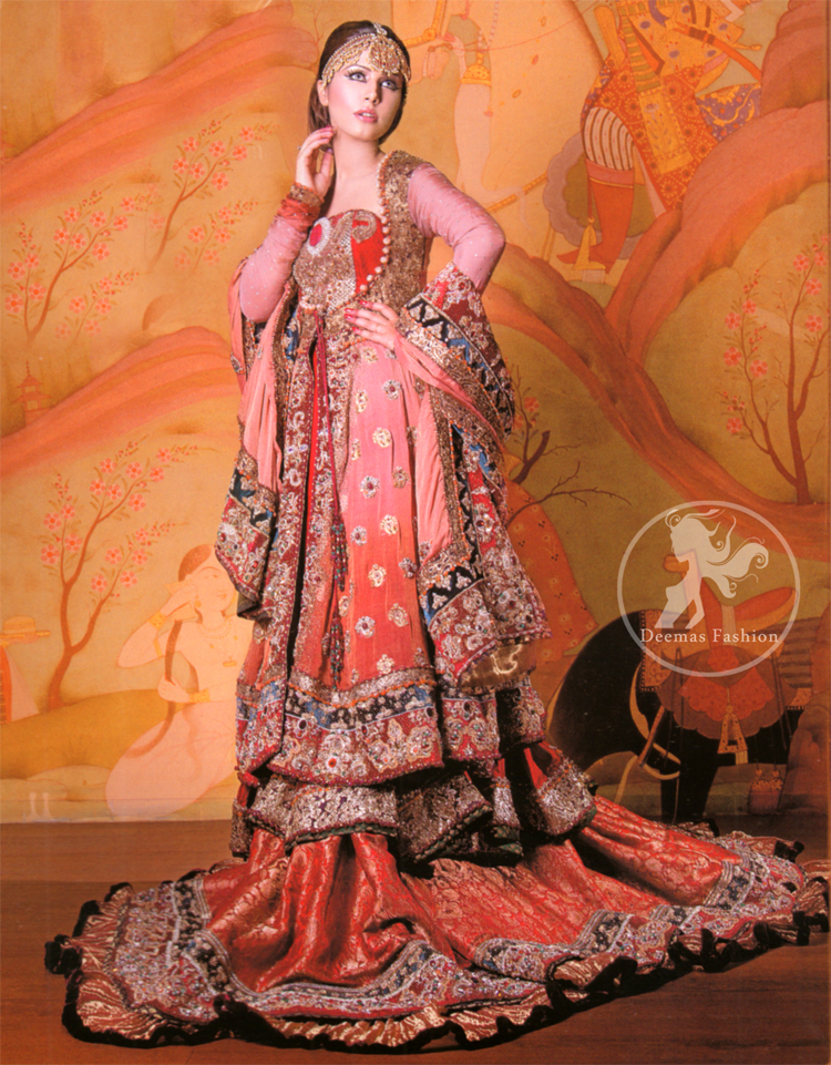 Peach Red Double Layer Front Open Gown Lehenga