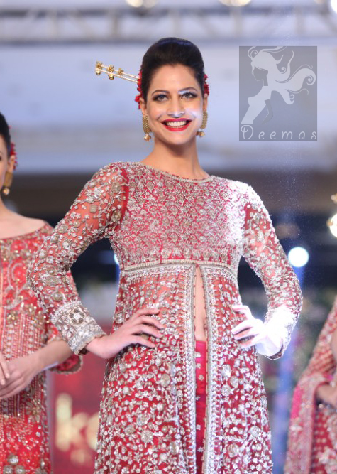 Latest Bright Red Bridal Gown Embellished with Silver Embroidery and Capri Pants
