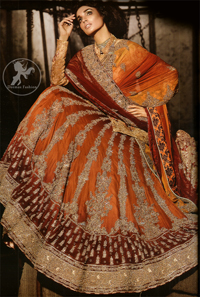 Deep Orange - Red Heavily Embroidered Bridal Lehenga For Baarat