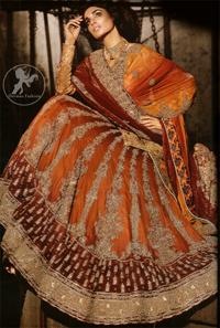 Deep Orange – Red Heavily Embroidered Bridal Lehenga For Baarat