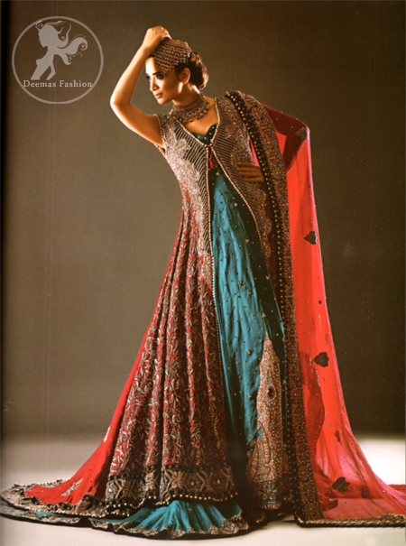 Deep Red Heavily Embellished Back Trail Gown with Blue Maxi