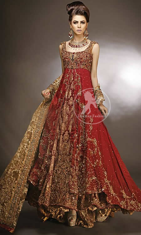 Designer Wear Red Double Layer Front Open Heavy Bridal Gown With Golden Sharara
