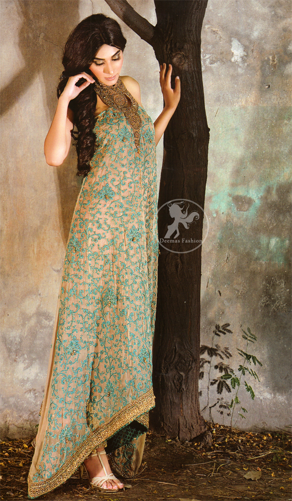 Designer Wear Light Brown Back Trail Maxi - Sea Green Embroidery