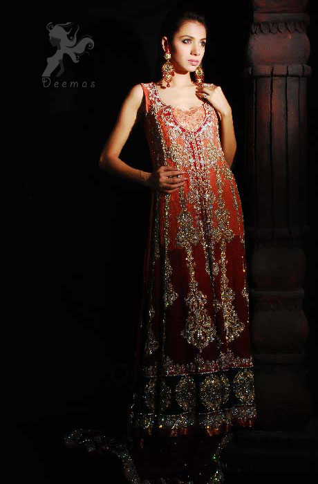 Double Tone Front Open Bridal Gown With Embroidered Sharara