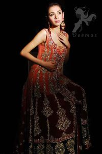 Double Tone Front Open Bridal Gown - Embroidered Sharara