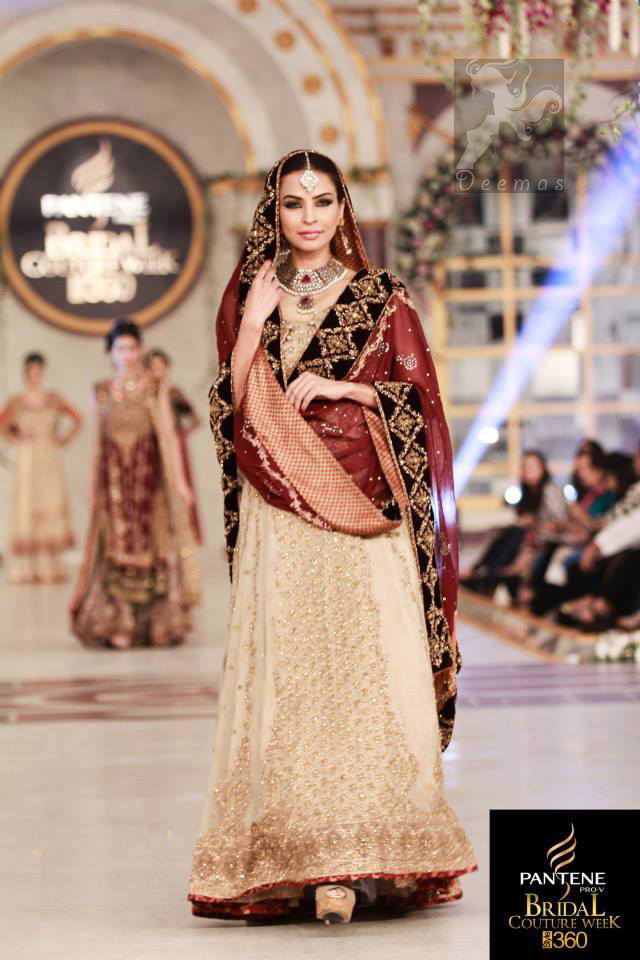 Fawn Back Trail Bridal Maxi With Deep Red Embroidered Dupatta