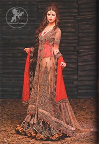 Fawn Bright Red Back Trail Gown Lehenga