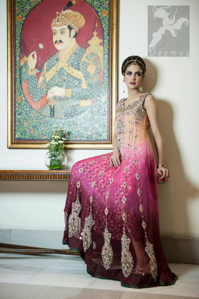 Latest three color heavily embroidered pishwas with banarsi lining and churidar pajama