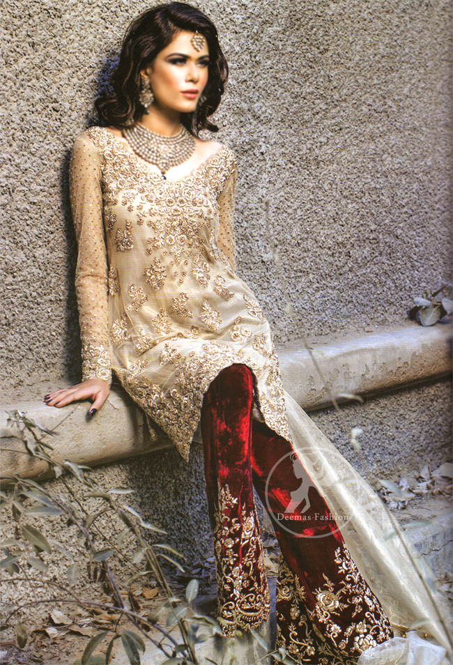 Light Golden Shirt with Deep Red Velvet Embroidered Trouser and Organza Dupatta