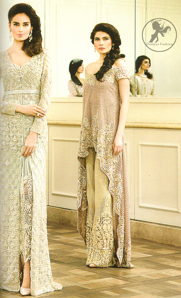 Latest Ivory White Formal Wear Front Open Gown with Embroidered Trouser 2016