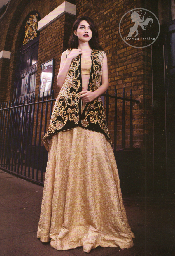 Light Golden Embroidered Jacket With Banarsi Blouse Lehenga