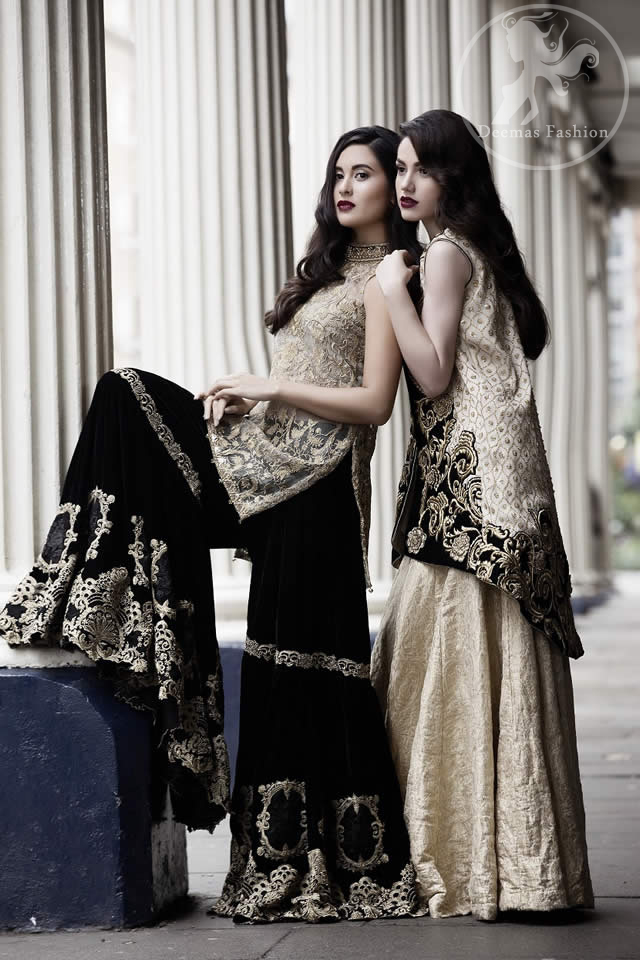 Latest Formal Black Jacket having Light Golden Embroidery with Banarsi Blouse and Lehenga