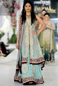 Light Blue Front Open Back Trail Gown - Bridal Lehenga