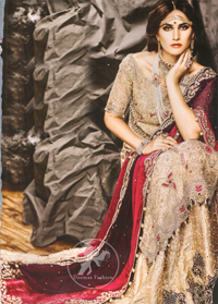 Light Fawn Long Shirt - Embroidered Lehenga - Deep Red Bridal Dupatta