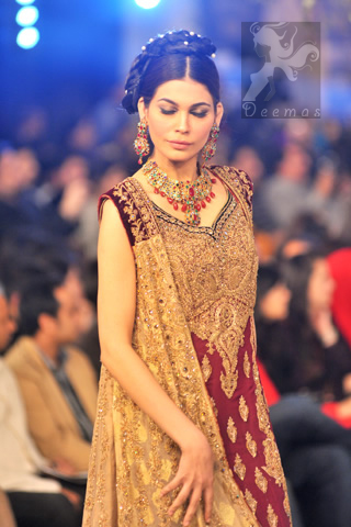 Latest Designer Wear Maroon Fawn Bridal Gown and Sharara and Dupatta