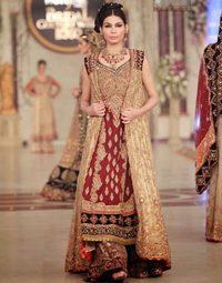 Designer Wear Dress – Deep Red Fawn Bridal Gown – Sharara