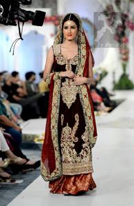 Dark Maroon Bridal Dress - Long Velvet Shirt - Jamawar Sharara