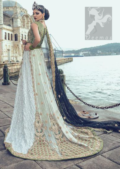 Mehndi Green Embroidered Blouse with White Back Trail Lehenga Dark Blue Dupatta