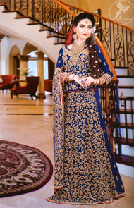 Royal Blue Fully Embroidered Blouse with Aline Style Lehenga
