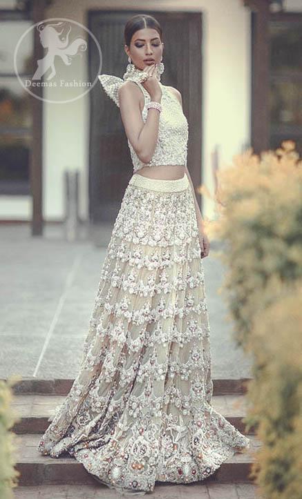 Latest Pakistani Bridal Wear Sharara and Fawn Blouse