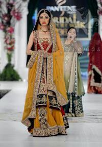 Mehndi Collection 2017 - Red Back Trail Gown - Yellow Lehenga - Bridal Dupatta