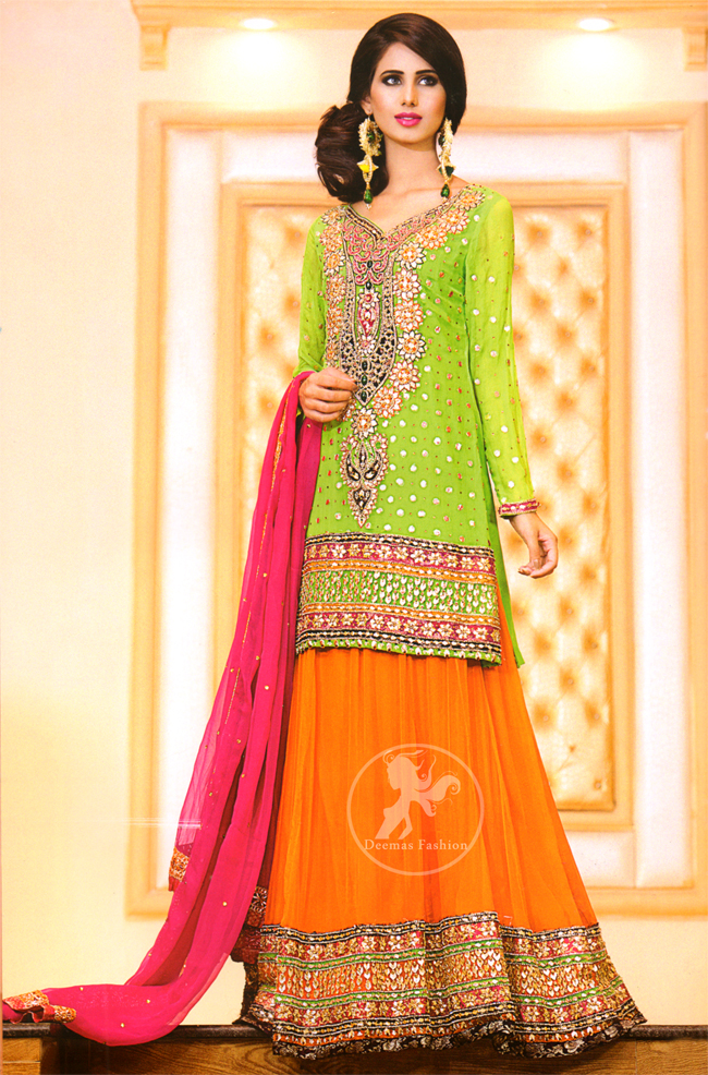 Bright Green Shirt Orange Lehenga Pink Dupatta for Mehndi Function