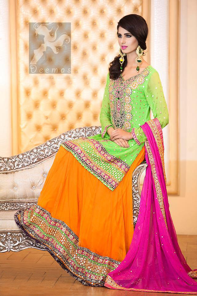 Pakistani Mehndi Wear Bright Green Shirt Orange Lehenga Pink Dupatta