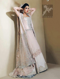 Light Pink Bridal Dress - Front Open Gown Back Trail - Embroidered Lehenga