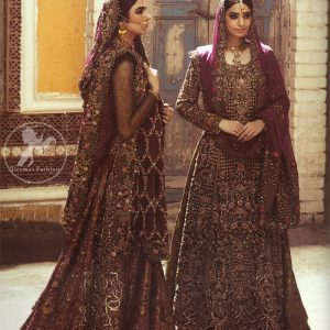 Traditional Embroidered Plum Anarkali Frock Sharara