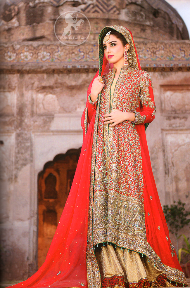 Red Front Open Bridal Wear Gown with Golden Jamawar Gharara
