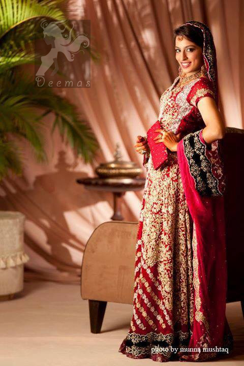 Red Heavy Embroidered Bridal Gown for First Day of Wedding