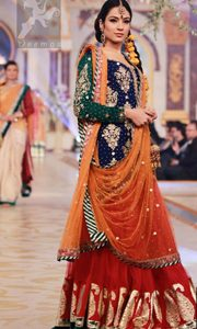 Mehndi Dresses 2017 - Royal Blue - Deep Orange - Red Lehenga