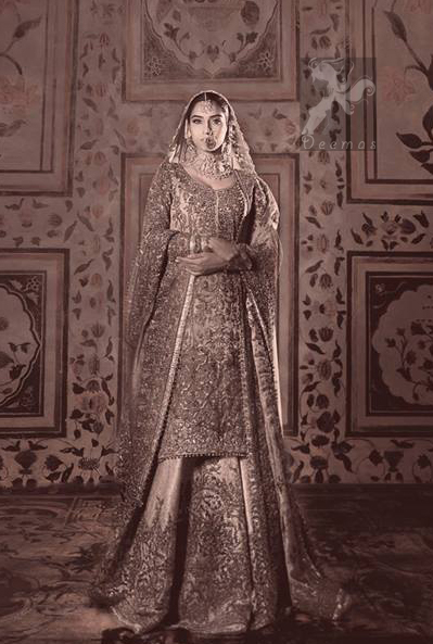 Traditional Pakistani Off white Bridal Shirt Lehenga