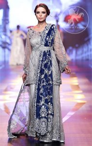 Silver Grey Bridal Dress - Short Shirt -Embroidered Sharara - Royal Blue Dupatta
