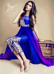Royal Blue Double Layer Frock - Embroidered Capri Pants