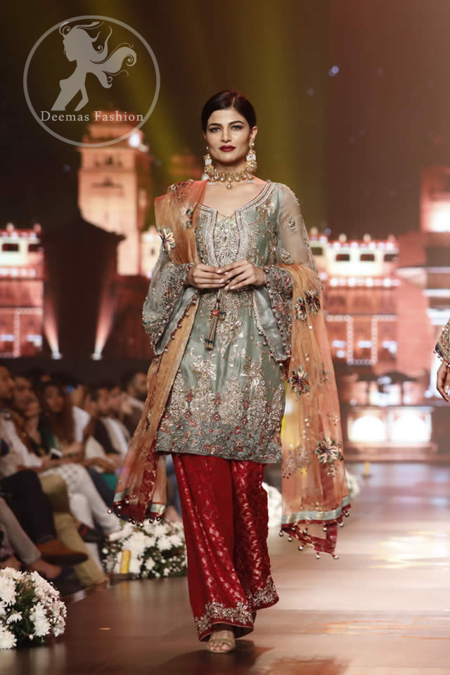 grayish-green-short-shirt-with-red-trousers-and-peach-dupatta