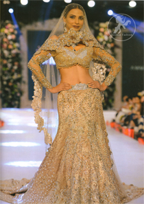 Bridal Wear Lehenga Choli - Light Brown Blouse -Back Trail Lehenga