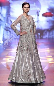 Bridal Collection - Silver Gray Front Open Gown - Embellished Lehenga