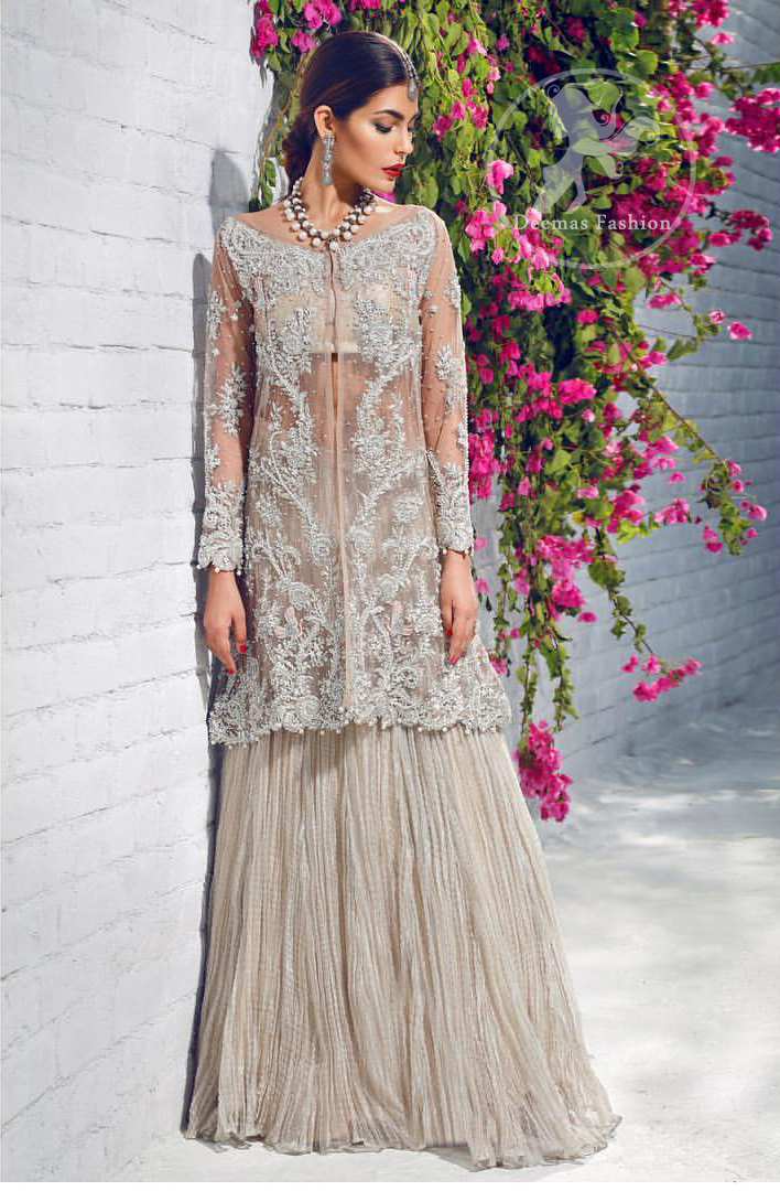 beige-front-open-gown-crushed-lehenga-3