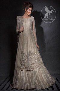Light Fawn ALine Bridal Frock - Lehenga -Embroidered Dupatta