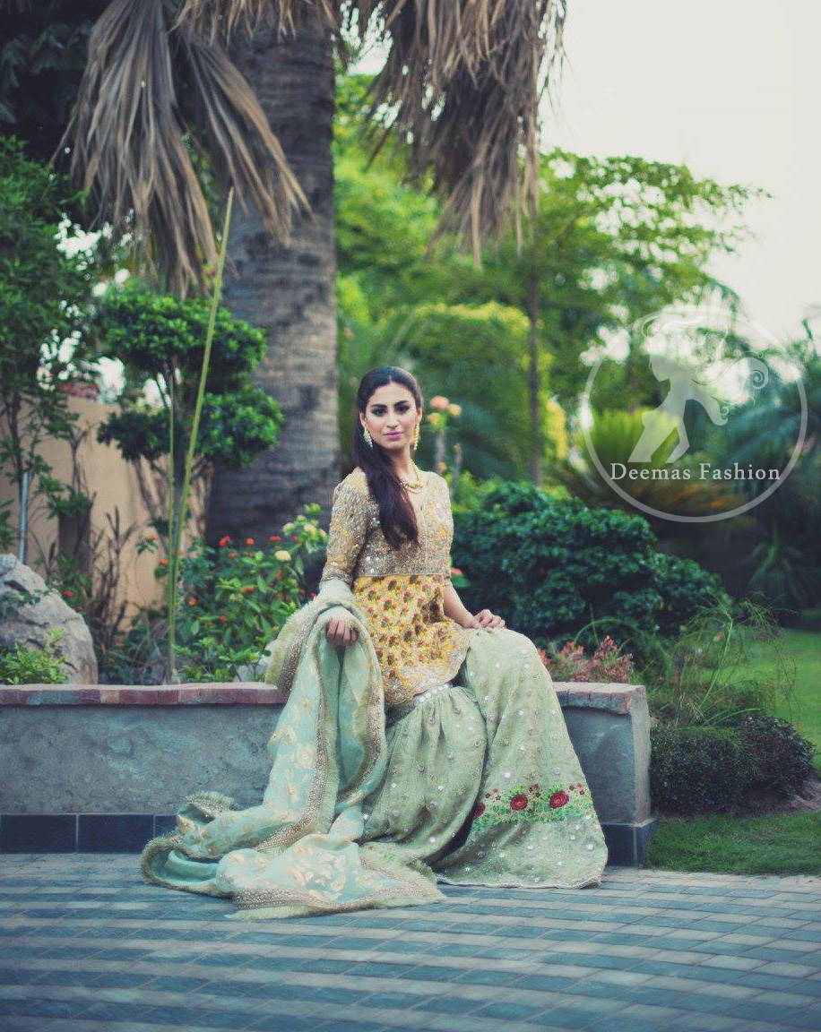 mehndi-dress-2016-yellow-short-frock-with-light-green-gharara-3