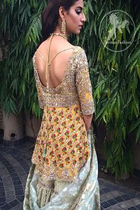 Mehndi Dress 2017 - Yellow Short Frock - Light Green Gharara
