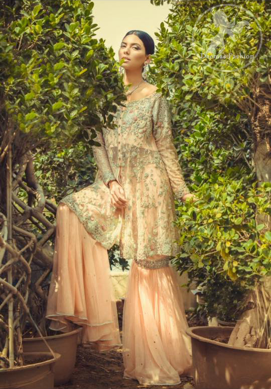 Peach Front Open Shirt with Gharara