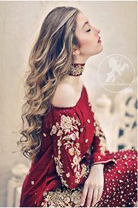 Deep Red Party Wear Dress - Short Shirt - Embroidered Trouser